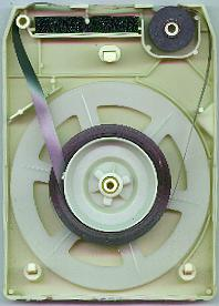The inside of an 8-track cartridge