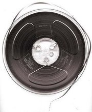 "7"" reel of 1/4"" recording tape typical of audiophile/consumer/educational use 1950s-60s"