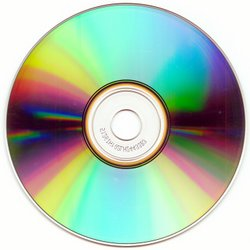 CD-R disc, bottom side, with interference colours