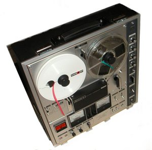 A Sony TC-630 reel-to-reel recorder, once a common household object.Note the distinctive Scotch tape spool at left.