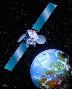 Artist's impression of a Boeing 601 satellite, as configured for digital television transmission by SES Astra
