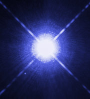 The image of Sirius A and Sirius B taken by Hubble Space Telescope A – bigger, B – smaller white dwarf (Credit:NASA)