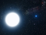 An artist impresion of Sirius A and Sirius B, A – bigger, B – smaller white dwarf (Credit:NASA)
