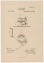 Patent drawing for Edison's phonograph, May 18, 1880.